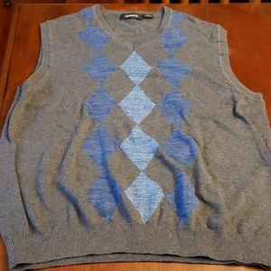 Claiborne Sweater Vest Argyle Blue/Grey Cotton EUC